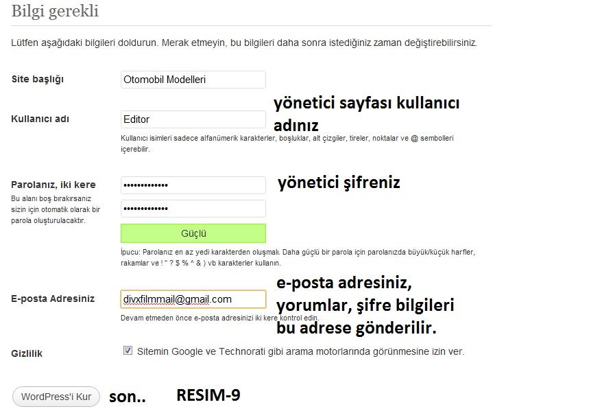 Kullanıcı ve Blog bilgileri